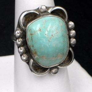 Native American Sterling Dry Creek Turquoise Ring